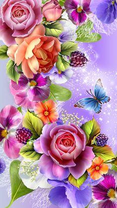 Fantasztikus színes art virágok... Wallpaper... By Artist Unknown...