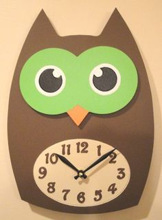Cute Owl Clock  Engraved and Hand Painted by AltusWorkshop on Etsy, $31.00