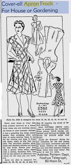 The Telegraph - Jul 1939 Aprons Vintage, Vintage Dresses, Vintage Outfits, Vintage Fashion, Vintage Wear, Apron Patterns, Vintage Sewing Patterns, Wrap Clothing, Make Do And Mend