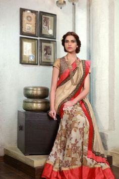 LEHENGA SARI with lurex short sleeve blouse with emb cutwork bolero is now available to be ordered at http://www.ekru.in/product/lehenga-sari-12