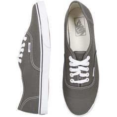 Vans Authentic Lo Pro Pewter/White ($65) ❤ liked on Polyvore featuring shoes, sneakers, vans, chaussures, pewter shoes, white sneakers, vans shoes, white shoes and vans trainers