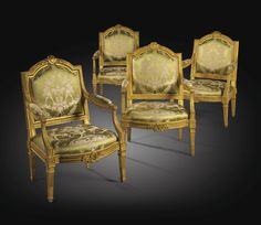 A  SET OF FOUR LOUIS XVI GILTWOOD ARMCHAIRS, STAMPED P. PLUVINET