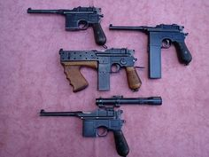 """qsy-complains-a-lot:  """" """"Saw this on pintrest. Thought you might like it!  """"  I do like it .w.  looks like a run of the mill C96 pistol, a Schnellfeuer type variant, that weird Brazilian SMG conversion and another pistol mounted with a scope.  """""""