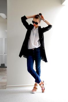 A pair of sandals instantly makes this minimalist look made up- dark jeans, a white button down, and a light black coat!  The pop of red lipstick and cool topknot don't hurt either!