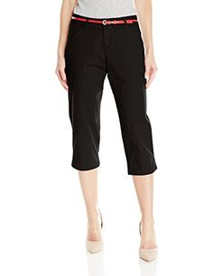 Lee Womens Natural Fit Belted Hope Capri Pant Black 12 * Click image to review more details.