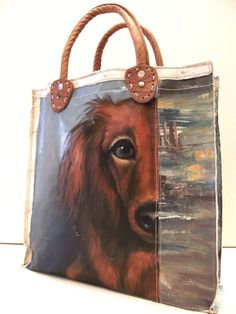 Image of Painting Bag - Dachshund Handmade Handbags, Handmade Bags, Painted Canvas Bags, How To Make Purses, Denim Purse, Diy Tote Bag, Bags 2017, Art Bag, Craft Bags