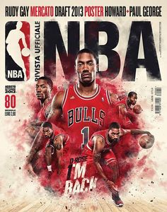 Combo of Different photos on a poster Rivista Ufficiale NBA (Italy)