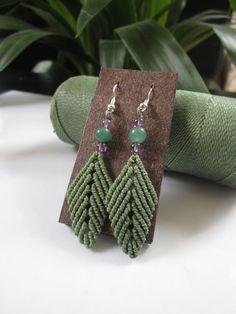 Macrame Leaves Green Olive Earrings with Gemstones Beads Handmade