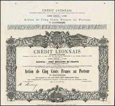 Crédit Lyonnais. Action F500, Lyon, 28.04.1879 Unissued