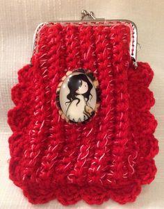 #Estuche tejido a #ganchillo #crochet con lana roja jaspeada.