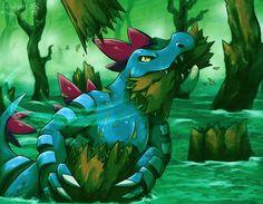 A Feraligatr using its powerful jaws to bite down a tree. Pokemon Tattoo, Pokemon Fan Art, Cute Pokemon, Pokemon Team, Cool Pokemon Wallpapers, Cool Pokemon Cards, Pokemon Official, Pokemon Eeveelutions, Pokemon Special