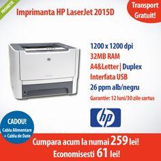 Imprimanta Laser HP LaserJet 2015D la un super pret, numai 259 lei!