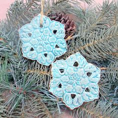 Snowflake Christmas Ornaments Set of TWO. $12.00, via Etsy.