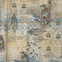 Tim Holtz - Wallflower- Bird Menagerie Blue Nest Bird Writing Fabric PWTH025 BTY by PrivateSourceQuiltin on Etsy