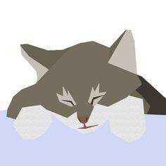 Sleeping tabby kitten paper-piecing quilt pattern PDF