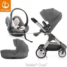 Stokke - Crusi Stroller/Travel System with regular seat, carry cot and car seat.