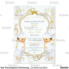 Shop Boy Twins Baptism Christening Gold White Cross Invitation created by HydrangeaBlue. Baptism Decorations, African American Babies, Glitter Frame, Baby Boy Baptism, Invitation Background, Christening Invitations, White Crosses, Custom Invitations, Beautiful Babies