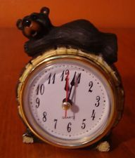 Rustic Faux Wood Carved Lodge BLACK BEAR CABIN MANTEL TABLE CLOCK Home Decor NEW