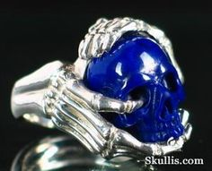 Lapis Lazuli Crystal Skull and Silver Bones Ring