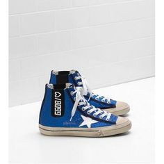 Pas Cher Chaussures Golden Goose V Star Sneakers Femme GGDB Hi Bleu Blanc  Noir Soldes Basket 487fb350cb5a