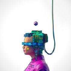"Amazing realistic art ""Work of fiction"" by Nick Sullo Increasethe brightnessof your phoneto 100 % to see full vivid colours Cyberpunk 2077, Christina Ricci, Cyberpunk Tattoo, Indie, Robots Characters, Acid Art, Psy Art, Vivid Imagery, Rainbow Art"