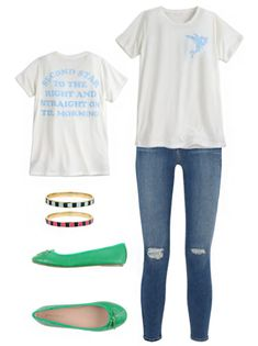 5 new tees from Disney Store and how to style them | Disney tee outfit sets | Tinker Bell | [ https://style.disney.com/shopping/2016/07/13/5-new-tees-from-disney-store-and-how-to-wear-them/ ]