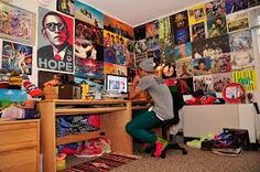 Image result for messy teenage bedroom posters