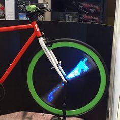 Digital bike spoke, lets you display adverts as you pedal. #ces2015