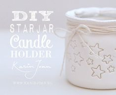 DIY handmade Clay Star Jar Candle Holder VIDEO tutorial - Turn mason jars and other jars into Christmas Candle Holders - another Karin Joan Craftproject Clay Projects, Diy Projects To Try, Crafts To Do, Clay Crafts, Crafts For Kids, Christmas Candle Holders, Diy Candle Holders, Diy Candles, Decoration Christmas