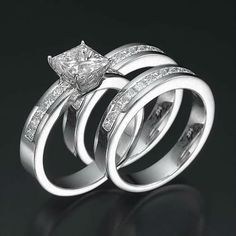 14K White Gold Over 3CT Diamond Engagement Ring Wedding Trio Set For His & Her #RegaaliaJewels #3psWeddingRingSet
