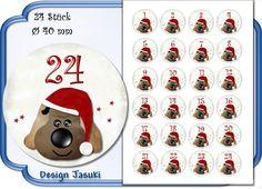 selbstklebende Zahlen Adventskalender Hund von Jasuki auf DaWanda.com