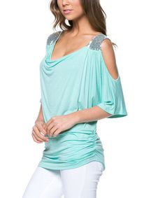 Look what I found on #zulily! Mint Embellished Cutout Drape Top by Magic Fit #zulilyfinds