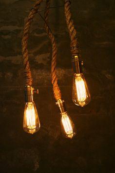 Chandelier Lighting Industrial Light 3 Edison Bulb Hanging Light Hanging Lamp Gifts for Men - Rustic Rope Design