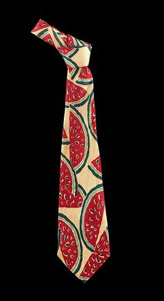 Necktie, ca. 1935. American. The Metropolitan Museum of Art, New York. Brooklyn Museum Costume Collection at The Metropolitan Museum of Art, Gift of the Brooklyn Museum, 2009; Gift of Miss S. Walsh, 1962 (2009.300.2011) | Watermelon imagery has become a lasting perennial theme and early artistic images, such as the one found here, were used to invite a sense of fun and whimsy in a time when most of the world was recovering or enduring the Great Depression.