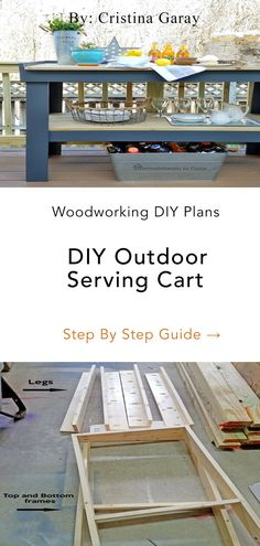 Hey there, Today I'm bringing you another project that's going to the patio makeover: A serving cart. Even though I already have a pair of potting benches that might work for holding food when not in use in Small Wood Projects, Cool Woodworking Projects, Cool Diy Projects, Diy Woodworking, Project Ideas, Outdoor Serving Cart, Diy Home Furniture, Furniture Ideas, Rustic Wood Decor