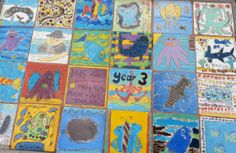 Year 5 Art on tiles making a collage at Wallaroo  Primary School Mar 14