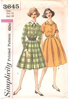 Vintage  1960's Shirtwaist Dress with Pleate Skirt Sewing Pattern by GrandmaMadeWithLove, $10.00, Simplicity 3645