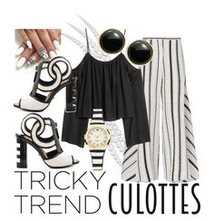 """""""Tricky Trend Culottes black & white"""" by marie-lenholm ❤ liked on Polyvore featuring Peter Pilotto, Kat Maconie, Karen Kane, TrickyTrend and culottes"""