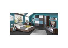 3 Tlg Jugendzimmer In Schlammeiche Dekor Grau Weiss Schwarz Und Blau Schrank In 2020 Bed Youth Room Youth Rooms