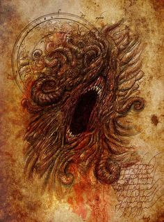Lovecraft art by Francois Launet. Faceless mouth.