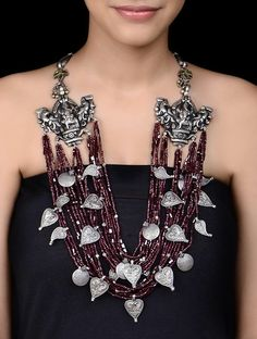 Buy Silver Maroon Lord Ganesha Necklace Garnet Cotton Thread Jewelry Tribal Notes Inspired Gold Tone & Engraved Online at Jaypore.com