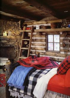 a colorful log cabin bedroom