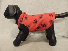 X Small Fleece Dog T Shirt Red with Paws by favorite4paws on Etsy