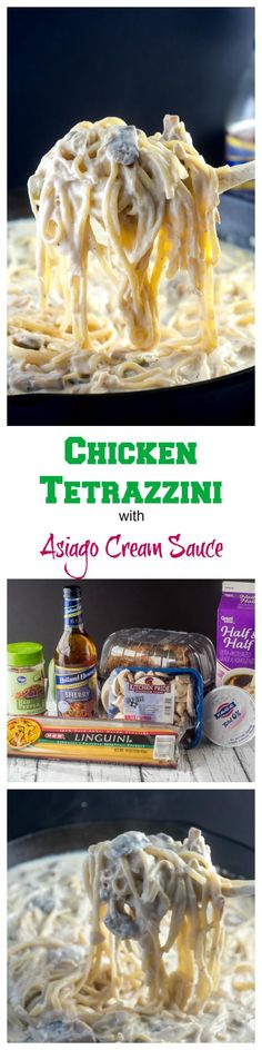 This Chicken Tetrazzini, with chicken (or turkey) in an asiago cream sauce with pasta, is a great way to use up leftover chicken or turkey after a holiday. ~ FlavorMosaic.com
