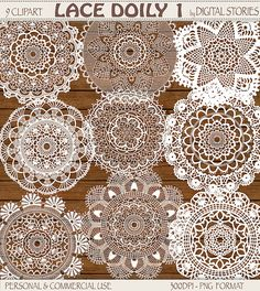 Lace Doily Clipart LACE DOILY 1 Digital clipart by DigitalStories, €2.80