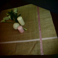 tablecloth burlap with lace and ribbon by modamodadesign on Etsy