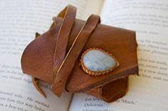 Leather Cuff Wrap Bracelet and Macrame Aquamarine Semi Precious Stone Bracelet