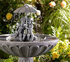 The most adorable children in this #Solar #Fountain. Not only is this fountain the perfect accent to your #garden, but creates a relaxing trickle of water to take your cares away!