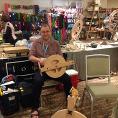 Louet North America's Dave tuning up wheels at the Ply Away Retreat!
