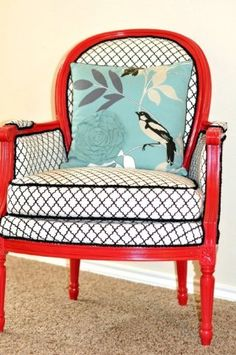 Great addition to a living room that add's whimsy and function. Vintage chairs modern makeover - Top 60 Furniture Makeover DIY Projects and Negotiation Secrets